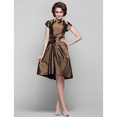 Dress - Brown Sheath/Column Jewel Knee-length Taffeta – USD $ 89.99