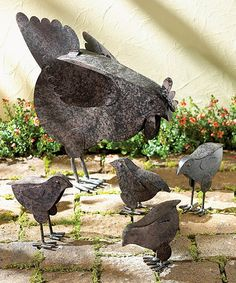 Hen and Chicks Outdoor Décor  Includes hen and four chicks Hen: 11.25'' W x 14.5'' H x 3.75'' D Metal 36.99