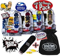 Tech Deck 96mm Individual Fingerboards Gift Set Party Bundle with Bonus Exclusive Mattys Toy Stop Storage Bag  4 Pack Assorted Styles ** Read more  at the image link.