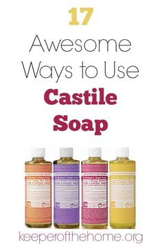 Have you heard about castile soap? It's crazy versatile and a little bit goes a long way! Great for the frugal mom who likes to stick to natural cleansers :) Here's 17 awesome ways to use castile soap, plus info on how to get some for free! Cleaning Recipes, Cleaning Hacks, Cleaning Solutions, Cleaning Supplies, Cleaning Checklist, Homemade Beauty, Diy Beauty, Beauty Hacks, Castile Soap Uses