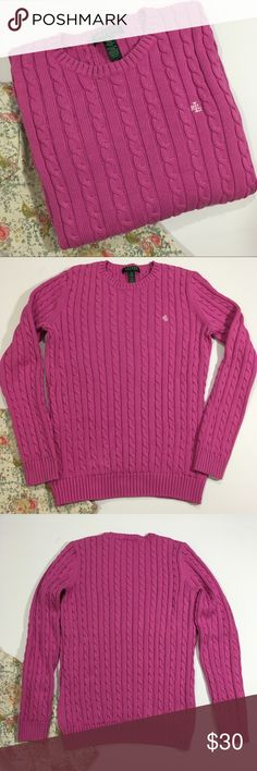 """Lauren Ralph Lauren Cotton Sweater Pullover 100% cotton cable sweater in a berry pink. In excellent pre-loved condition. Size Small. Length 24"""" / bust 35"""" / sleeve length 23"""" ❤️ Offers always welcomed ❤️ Ralph Lauren Sweaters Crew & Scoop Necks"""