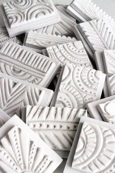 Ideas for stamp making - Alisa Burke — SOLD OUT- hand carved doodle stamp set Foam Crafts, Arts And Crafts, Paper Crafts, Diy Crafts, Craft Foam, Wooden Crafts, Paper Toys, Paper Art, Clay Stamps