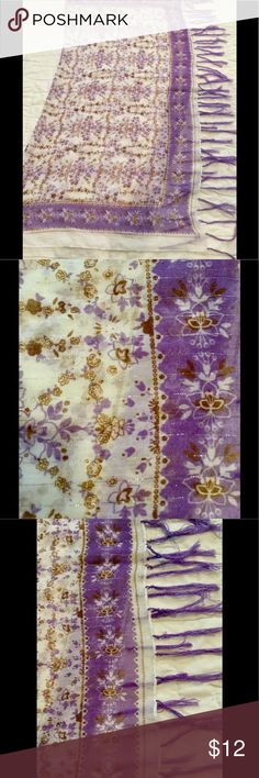 """Vintage Square Boho Wrap Thin, White, purple, gold, and some silver sparkle mixed in with purple fringe.  38"""" x 38"""".  Super soft. Accessories Scarves & Wraps"""