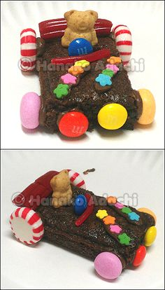 I got the idea from 'Wreck-It Ralph' and with children spending the night with their auntie, it was a great craft idea which that got to eat for dessert! I used brownies for the base, peppermints and fruit flavored Mentos candies, Twizzler's Pull-N-Peel and Bites, M's, and Teddy Grahams. I used chocolate frosting to hold the pieces together and sprinkles for additional design. (There were also Sour Punch Straws and Gummie Bears as an alternative to the Teddy Grahams).