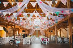 Paper chain and lights in place of bunting- Colorado Country Wedding- whimsical ceiling treatment with pendant garland Rustic Wedding Save The Dates, Rustic Wedding Colors, Rustic Wedding Showers, Rustic Wedding Backdrops, Country Wedding Decorations, Rustic Wedding Reception, Rustic Wedding Centerpieces, Whimsical Wedding, Wedding Flags