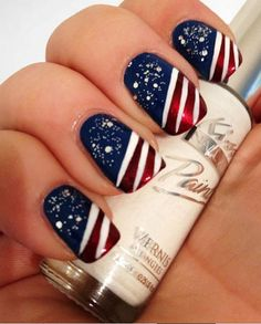 Forth of July Stars & Stripes Manicure Nails