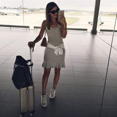 Pin for Later: 34 Easy Outfit Ideas For When It's Too Hot to Even Move A Gray Dress and Converse