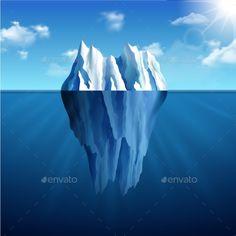 Iceberg Landscape Illustration by macrovector Polar landscape with iceberg on blue sunny background vector illustration. Editable EPS and Render in JPG format
