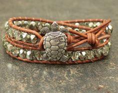 Items similar to Turtle Bracelet, Blue and Green Wrap Bracelet, Double Leather Wrap, Turtle Jewelry, Tropical Jewelry, Boho, Beach Jewelry on Etsy