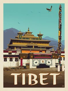 Tibet | Anderson Design Group Poster Vintage, Vintage Travel Posters, Framed Postcards, Travel Aesthetic, Tibet, Pretty Pictures, Places To Travel, Instagram, Illustration