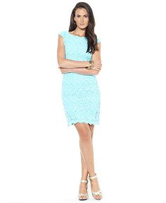 Lauren Ralph Lauren Dress, Cap-Sleeve Crochet Lace - Womens Lauren Dresses - Macy's