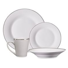 48 Piece Fine Porcelain China Platinum Banded White Dinnerware Set Service for  sc 1 st  Pinterest & Gibson® Studio Platinum 50-Piece Dinnerware Set - BedBathandBeyond ...