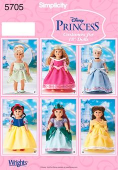 Simplicity 5705 Disney Princess Costumes for 18 Inch Dolls - Doll, Barbie Clothing Patterns