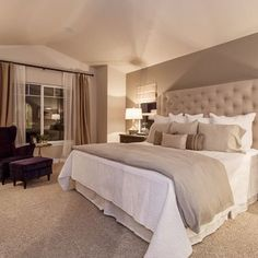 relaxing, warm, cozy, elegant, comfortable - beautiful bedroom - walls taupe; trim white or ivory; linens white or ivory; accents white, ivory, oatmeal, taupe & touches of black