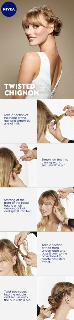 This is how you make the twisted Chignon style! Have fun trying! #nivea #hair #style #elegant #updo #hairtutorial #tutorial #diy