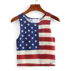 Stars and Stripes Print Crop Tank Top ($5.99) ❤ liked on Polyvore featuring tops, multicolor, crop top, striped tank, cropped vest, blue crop top and striped crop top