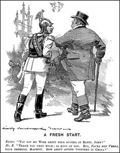 In 'A Fresh Start' , for instance, the beginnings of Anglo-German negotiations over China were commemorated by Wilhelm and John Bull, arm-in-arm, walking towards the future, with nothing less than courting doves flying overhead (a somewhat 'over-the-top' image to say the least). Almost eighteen months later, and in the midst of the South African War, Sambourne depicted Mr Punch welcoming the Kaiser back to Britain