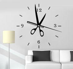 Vinyl Wall Decal Hair Salon Clock Art Decoration Barbershop Stylist Stickers (ig4767)