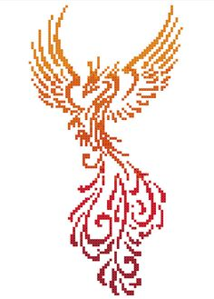 Colourful Phoenix Modern Counted Cross Stitch Pattern Chart   Instant PDF Download Please note that this is for a digital pattern only not