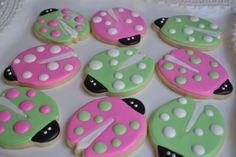 Pink and green ladybug cookies :)