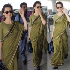 Kangana Ranaut takes off again. Simple Sarees, Trendy Sarees, Stylish Sarees, Chiffon Saree, Saree Dress, Patiala Dress, Dress Indian Style, Indian Dresses, Indian Outfits
