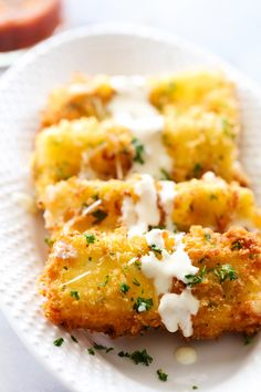 This Fried Mozzarella is simple, delicious and a perfect appetizer. The outside is crispy with a gooey soft cheesy inside. It is drizzled with Alfredo and paired with Marinara. The flavor combo makes this one outrageously tasty party food! Appetizer Recipes, Snack Recipes, Cooking Recipes, Cheese Appetizers, Cheese Recipes, Cake Recipes, Mozzarella Sticks, Tasty, Cheese