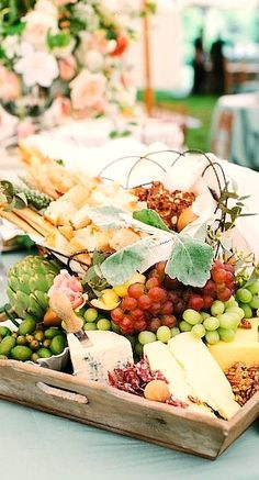 Alfresco bread, cheese, and fruit display....