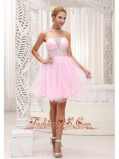 Beaded Up Bodice Lovely Baby Pink Prom / Cocktail Dress Strapless With Mini-length  http://www.fashionos.com  Sweet and playful, this charming cocktail dress from Fashionos is a great choice for your homecoming dance. The strapless bodice features rhinestone embellishments for a unique and pretty style. Banded and beaded at the waist to show off your figure, the above-the-knee skirt floats with layers of rich fabric. Hidden zipper up completes the look.