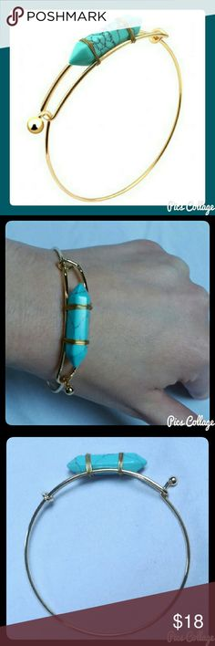 """Bullet Turquoise & Gold Fashion Bangle Peg clasp fashion bangle with gold-plated metal alloy and faux turquoise bullet charm. Best fits wrists 7.5-8"""". Jewely's Justifiables Jewelry Bracelets"""