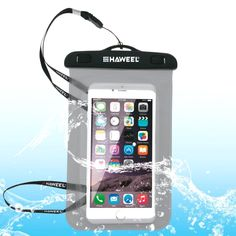 [$1.80] HAWEEL Transparent Universal Waterproof Bag with Lanyard for iPhone 6 & 6 Plus / 6S & 6S Plus, Samsung Galaxy S6 / S5 / Note 5(Black)