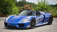 Porsche 918 Spider painted in Sapphire Blue Metallic w/ the Platinum Metallic Salzburg Livery and Weissach Package   Photo taken by: @tmashphotos on Instagram (@vbugking on Instagram is the owner of the car)