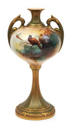 A Royal Worcester porcelain vase, signed, a (Albert) Shuck,…