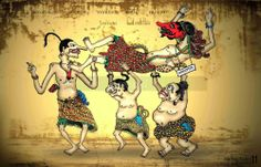"Elite negeri ini juga bukan para kstaria Pendawa yang dengan amat sadar mau mendengar dan memperhatikan suara para Punakawan. Mereka yang kini tengah berada dalam lingkaran kekuasaan adalah sosok-sosok ""anomali"" yang bergaya hedonis, suka melakukan tipu-tipu, hobi berbohong, dan amat gemar melakukan pencitraan ketika ""pamor"" kekuasaannya tengah mengalami masa-masa surut. Javanese, Carving Designs, Mythology, Projects To Try, Desk, Pure Products, Logo, Tattoos, Drawings"