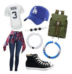 """""""Meeting the Sandlot boys for the first time"""" by heyitsbritt2003 on Polyvore featuring Majestic, Topshop, '47 Brand, A.P.C., Converse, Lokai and Charlotte Russe"""