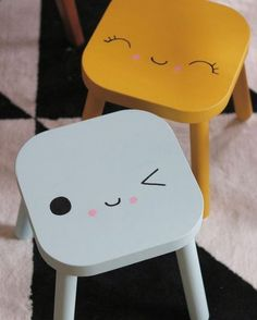 adorable ikea hack. kawaii faces on a stool for back to school. #diy #diykids #homedecor #homedecoration #makeit #cuteness
