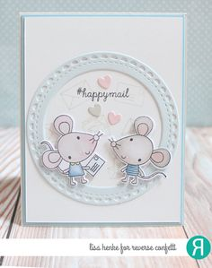 Card by Lisa Henke. Reverse Confetti stamp set: Mouse Mail. Confetti Cuts: Mouse Mail and Lacy Scallop Circle. RC Cardstock: Mist and Cloud White. RC Ink: Stone. Friendship card. Valentine's card. Anniversary card.