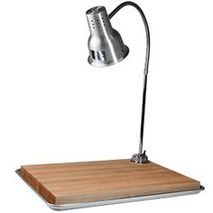 Carving Station Kit with Heat Lamp, Maple Cutting Board, and Drip Pan