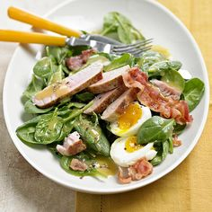 Bacon and eggs pair with spinach and tuna in this hearty lunch or dinner salad recipe. Make homemade honey-mustard sauce with, yes, honey and mustard (and vinegar). Healthy Tuna Salad, Healthy Eating, Healthy Food, Seafood Recipes, Cooking Recipes, Healthy Recipes, Main Dish Salads, Main Dishes, Side Dishes
