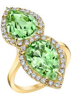 TAMIR Magnificent Twin Peridot and Diamond Ring