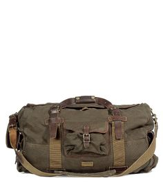 Loden canvas and leather weekender bag
