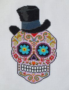 TOP HAT Sugar Skull Cross Stitch Pattern par HanksPatternPlace