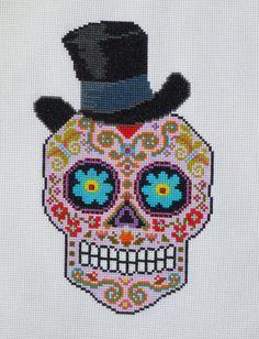 TOP HAT Sugar Skull Cross Stitch Pattern par HanksPatternPlace