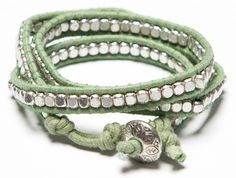 Brightly wound bracelet in mint. I am all about the wrap bracelets this spring!