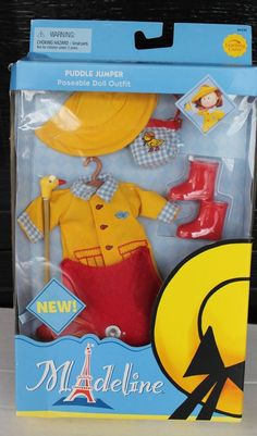 """NEW 8"""" MADELINE DOLL PUDDLE JUMPER RAINY DAY WINTER OUTFIT YELLOW COAT UMBRELLA #LEARNINGCURVE #ClothingAccessories"""