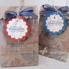 Need a simple treat holder to sweeten your Thanksgiving celebrations? Here's a quick and easy idea. Both stamp sets are retired: Grateful Greetings and Autumn Splendor, but some of the current stamps (like Gently Falling) would be perfect for this time of year. www.stampingmadly.com