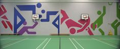 Detail of supergraphics in Academy Sport, sport hall