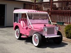 """Great Pink Jeep """"Surrey"""" that was popular on Island resorts in the 1960s."""