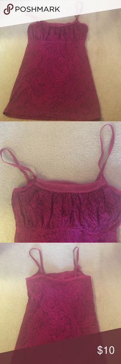 """Aerie Printed Camisole Cute camisole with pink and burgundy design. Bought from Marshalls so """"Aerie"""" is crossed off on tag. Only worn a few times. aerie Tops Tank Tops"""