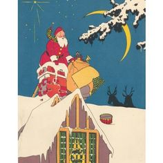 Check out this item at One Kings Lane! Santa Going Down a Chimney, 1925