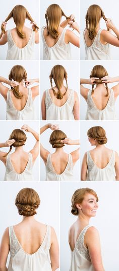 Wedding Hairstyles For Long Hair DIY wedding hair. always looking for something up, yet not just a ponytail or bun when working a wedding! - Check out these 12 amazing and gorgeous hair updo ideas for women with short hair. Fishtail Braid Wedding, Fishtail Braids, Long Braids, Long Hair Easy Updo, Easy Upstyles For Medium Hair, Fishbone Braid, Easy Braided Updo, Easy Chignon, Ponytail Updo